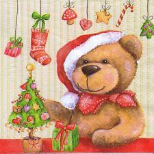 4 SERVIETTES EN PAPIER NOEL OURSON. 4 PAPER NAPKINS CHRISTMAS XMAS TEDDY BEAR