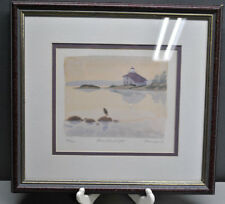 SHOAL ISLAND LIGHTHOUSE WATER COLOR SIGNED SWEARINGER 90' 467/1000