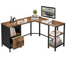 Schreibtisch, L-förmiger Computertisch, Bürotisch mit Schrank,2 Ablagen LWD75X