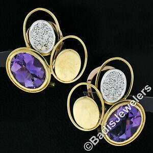 Vintage Modernist 18k Gold Amethyst Diamond Triple Oval Large Statement Earrings