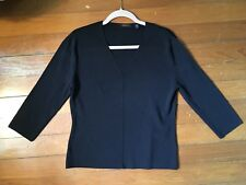 Cyrus Brand Women's Top Blouse Shirt Black 3/4 Sleeves V-Neck Size XL Large