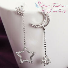 18k White Gold Plated Simulated Diamond Star & Moon Dangling Silver Earrings