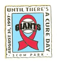 SF Giants 1997 Until There's A Cure Pin IP san francisco AIDS 3Com Park g21
