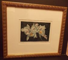 "Framed Plate Colored Etching ""Feathered Laelia"" by Ann DeLaurentis #11/25"