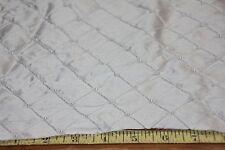 "1.5Y by 50"" Wide Silk Taffeta Fabric-Embroidered & Pearled  Ivory 100% Silk"