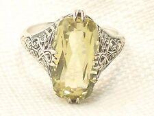 Estate Vintage Sterling Silver CNA Prasiolite Green Amethyst Filigree Ring .925