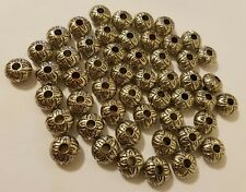 Lot of 50 Silver Excalibur Tribal Disc Plastic Macrame Craft Jewelry Beads 16mm