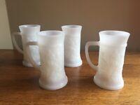"SET OF 4 Federal Milk Glass (FEG9) 5-3/4"" Tavern Scene Beer Stein Mug; EUC!"