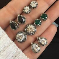 5Pairs/Set Crystal Ear Stud Earrings Cubic Water Drop Green Gemstones Retro Gift