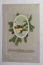 """ Christmas,Winter Landscape,Fir Branches "" 1912, Embossed Postcard (46917)"