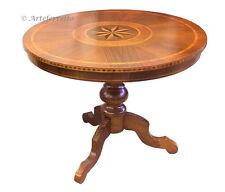 Table ronde marquetée, table à manger, bois massif, table fabriquée en Italie