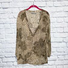 Chico's 3 Tan Brown Neutral Floral 100% Silk Gem Embellished Tunic Top XL 16