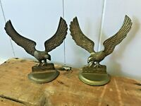 Vtg Pair Mid Century India Solid Brass Eagle USA Figurines Wall Art Hanging Hook