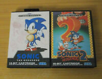 SONIC THE HEDGEHOG 1 & 2 SEGA MEGA DRIVE UK PAL SUPER CONDITION