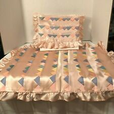 Vintage 1950's Handcrafted Pink Baby Crib/Bed Cover with Pillow Sham