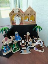 Vintage Cross Stitch Completed Nativity Set!  18 PIECES!  MANGER!  FIGURES!