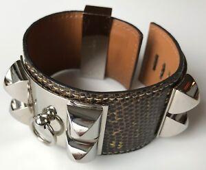 Hermés Collier de Chien Cuff Bracelet in Gray Lizard, Palladium Plated Hardware