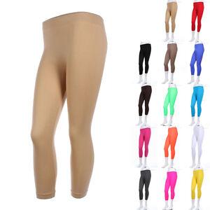 Women's Seamless Solid Basic CAPRI LEGGINGS For Women Spandex ONE SIZE