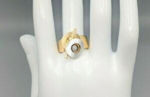 Christophe Poly Gold and Silver Tone Modernist Geometric Ring w/ Stone Size 7.5