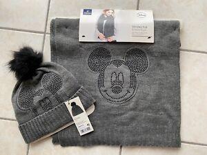 Disney Mickey Mouse Schal & Mütze Tchibo Strick grau NEU