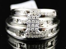 10K Mens Ladies White Gold Diamond Engagement Bridal Wedding Ring Trio Set .15ct