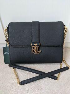 Ralph Lauren Black Carrington Flap Bag / Brand New