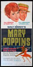 MARY POPPINS JULIE ANDREWS DISNEY MUSICAL 1964 PRE-OSCAR 3-SHEET