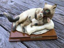 Vtg 1983 G Armani Siamese Cat & Kitten Figurine Florence Italy Statue Giuseppe