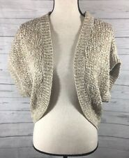 Theory Womens Knit Crochet Bolero Cardigan Open Front Oatmeal Metallic One Size
