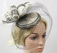 STUNNING BLACK & CREAM FASCINATOR WITH LACE, LOOPS, FEATHERS & VEILING, RACES