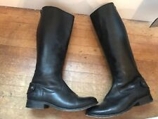 Frye Womens Black Leather Knee High Tall Zip Up Riding Boots Size 9 B