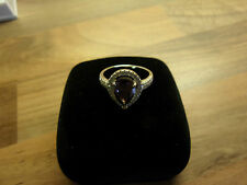 Real 925 Sterling Silver & Purple Cubic Zirconias Crystal Ring Size 7/O