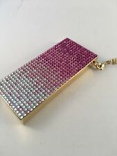 Metal Ipod Case with Rose Ombre Design in Swarovski Crystals with long chain