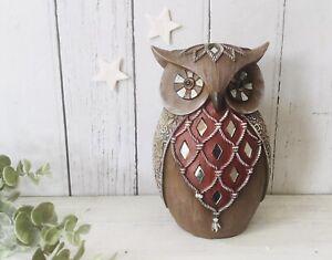 Vintage OWL Ornament Figurine Bird Home Decor Diamante Art Deco Sculpture Gift