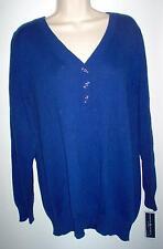 WOMENS SWEATER 1X ROYAL BLUE COTTON NEWw/TAGS RETAIL $50