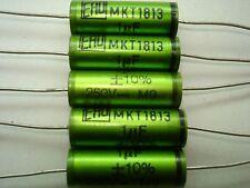 5x Nos Ero Mkt1813 1uF/250V/10% Roederstein metalized film capacitors axial
