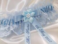 PERSONALISED BLUE BRIDES WEDDING GARTER