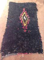 "Vintage black moroccan boucherouite rag rug    172 x 90cm  5'8"" x 3'"