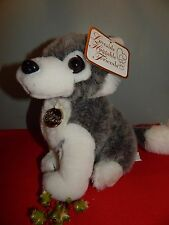 "Siberian Husky Dog Plush Stuffed Animal Grey White 9"" tall New with tags"