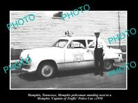 OLD LARGE HISTORIC PHOTO OF MEMPHIS TENNESSEE, THE TRAFFIC POLICE CAR c950