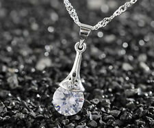 925 Silver plating Fashion Women Crystal Rhinestone Necklace Pendant Chain #8