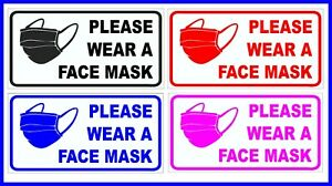 Please Wear A Face Mask Sticker Shop Taxi Bus Vehicle Business NHS