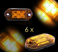 6 X 4 Diodi Luci Ingombro di Posizione Indicatori 12V Ambra Caravan Bus Camper