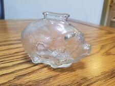 RARE VINTAGE SMALL GLASS PIGGY PIG BANK