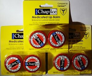 6 ORAL LABS Chap Ice Medicated Lip Balms For Dry Chapped Windburned Lips NIP