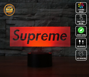 SUPREME HODDIE LOGO BRAND CLOTHES 3D Acrylic LED 7 Colour Night Light Touch Lamp