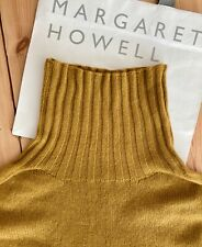 MARGARET HOWELL Turmeric Cashmere Wide Roll Neck Jumper - Size 10