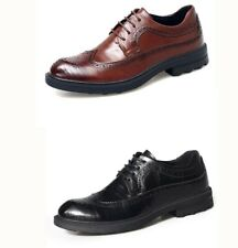 Men Lace Up Wing Tip Carving Brogues Leather Dress Formal Business Oxfords Shoes