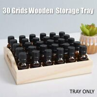 30 Grids Wooden Essential Oil Storage Tray Tabletop Display Organize Holder