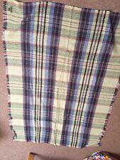 National Trust 100% Wool Blanket Throw Tartan  160cms X 115cms Green Purple